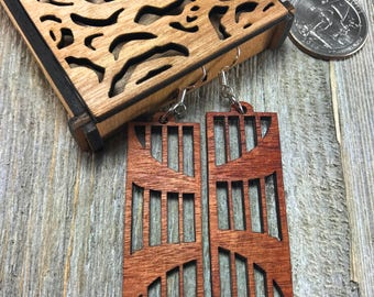Laser cut wood earrings #7
