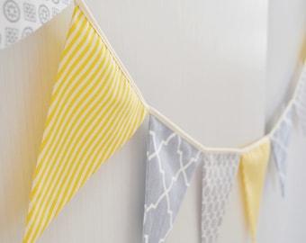 Yellow Grey Nursery bunting Wall art Fabric bunting Flag banner Nursery decor Pennant flag garland Baby shower Party Birthday decor Prop