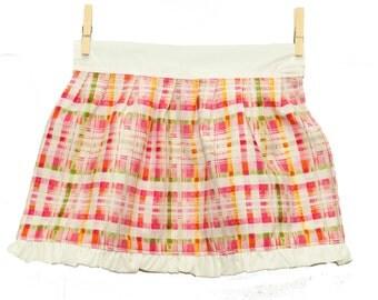 children's pink plaid apron, hostess apron, flower apron, pink apron, tea party, dress up clothes