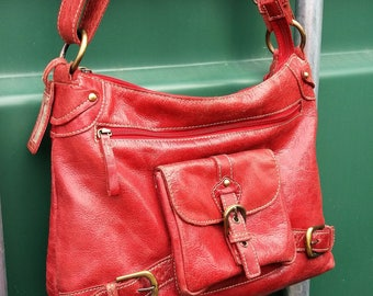 Large red leather messenger bag. Red Leather cross body messenger bag, Leather Satchel messeger bag.