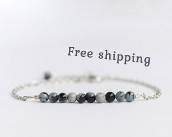 Snowflake obsidian bracelet for women, Black and white jewelry, Snowflake obsidian jewelry, Obsidian stone bracelet, Small bead bracelet