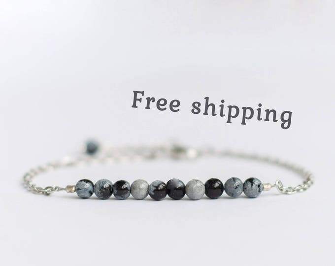 Snowflake obsidian bracelet for women, Black and white jewelry, Snowflake obsidian jewelry, Obsidian stone bracelet, Small bead bracelet