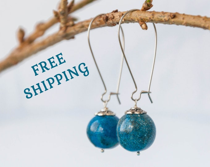 Celestial earrings, Long blue earrings for wedding, Science earrings, Blue dangle earrings, Polymer clay earrings, Blue wedding earrings