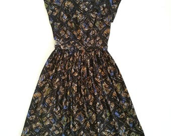 Vintage 1960s polyester day dress brown