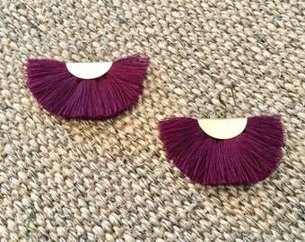 Fan earrings - maroon & brass