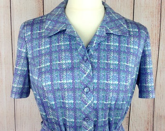 Vintage 70s Button Front Belted Blouse Top Shirt Purple Green Blue White Check TREVIRA Jersey Ilany UK 12
