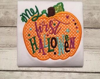 First Halloween Pumpkin 1st Applique Embroidery Design Instant Download - 0336