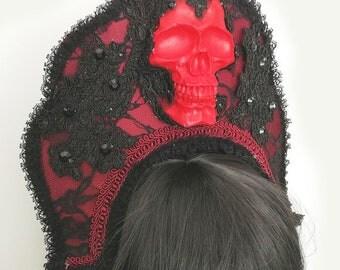 Santa Sangre gothic kokoshnik-black/red skull headpiece-wgt-gothic headpiece-headpiece