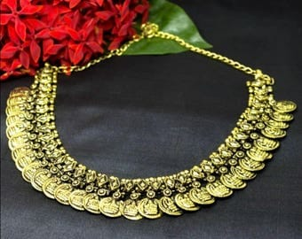 Antique Golden necklace,Tribal Necklace,Kolhapuri necklace, Oxidized silver necklace, Indian necklace, Ethnic necklace, Coin necklace,