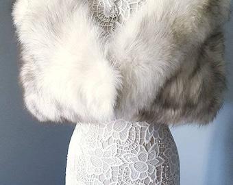 Luxury Vintage Fox  Fur Stole - Norwegian Blue Fox Fur Shawl  Shrug  - Capelet - Cape - Wrap - Stole - Jacket - Coat - Luxury Bridal Fur