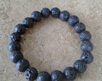 Black Lava Rock Bracelet - 8MM - Beaded, Elastic, Exclusive