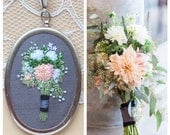 Bridal Bouquet Necklace, Cotton Anniversary Gift, Second Anniversary, 2nd Anniversary, Bridal Bouquet Portrait, Embroidered Bouquet Necklace