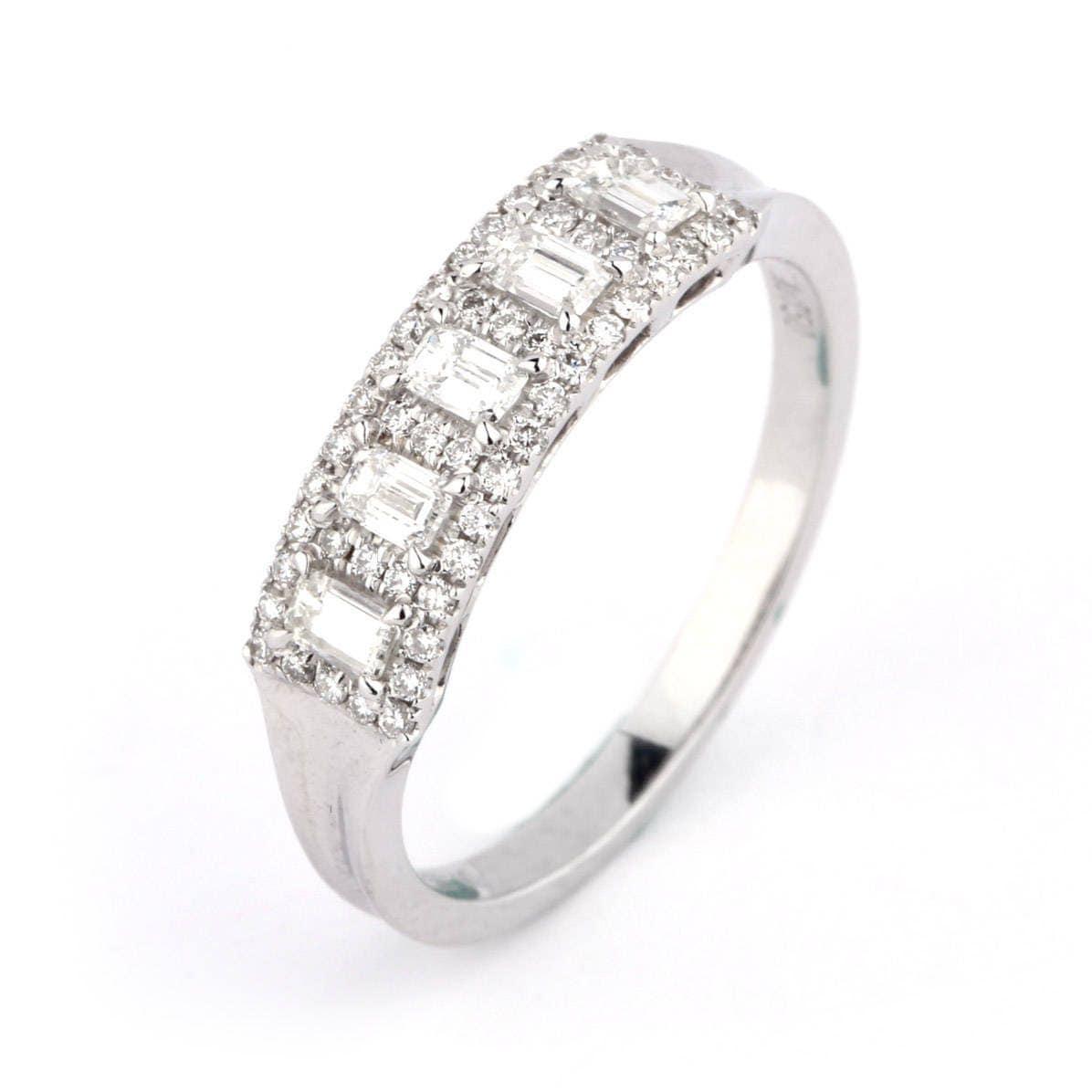 18K White Gold Baguette Cut Diamond Wedding Ring /Simple Eternity ...