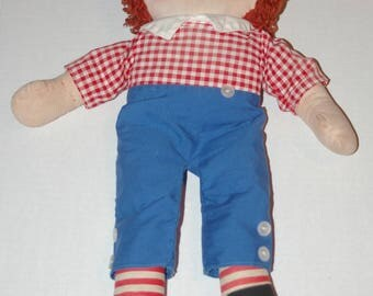 "Vintage 1963 Cloth RAGGEDY ANDY Doll 16"" Tall KNICKERBOCKER Toys Very Good Condition"