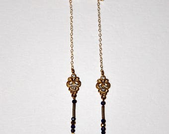 Long gold-plated retro earrings, micro Amethyst and Zircons flowers