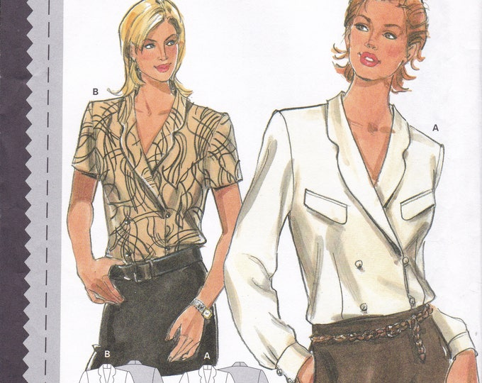 FREE US SHIP Sewing Pattern Burda 3075 Size 10 12 14 16 18 20 Bust 32 34 36 38 40 42 Plus Uncut Double Breasted Blouse Factory Folded