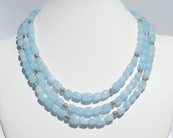 Aquamarine and silver 3-strand necklace