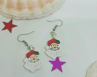 Wood Santa Claus earrings