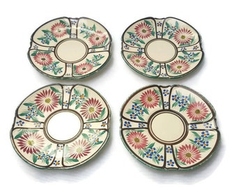 Dessert plates Ancient porcelain of Brittany, Set of 4, Small Plates, Red Flowers, blue fruits, Made in France , from the 60's