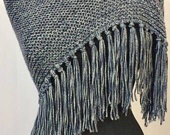 Denim Knit Wrap, Knit Scarf, Knit Shawl, Denim/Stone wash/Steel Grey color w Fringe, Fashion Accessories, GiftforHer,Graceful Ewe Fiber Arts