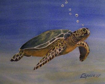 Sea Turtle,16x20 Original Watercolor Painting,One of a Kind,Not a Print