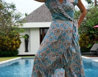 Maxi wrap dress/Bohemian Frill dress/Long frill Summer dress/Boho Wrap long dress * MAXI LOUISE DRESS