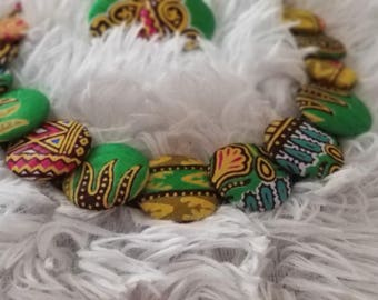 African Print Disc Necklace & Earrings