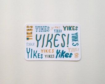 Screen Printed Postcard - YIKES