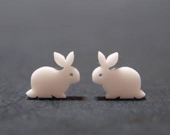 White Rabbit Stud Earrings, White Rabbit Earrings, White Rabbit Studs, Rabbit Jewelry, Easter Bunny Earrings, White Bunny Studs, Easter Gift