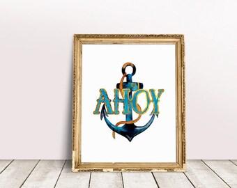 Ahoy | Pirate Print, Buccaneer Print, Blue Anchor Print, Watercolor Print, Blue Anchor Wall Art, Ocean Theme Print, Pirate Anchor