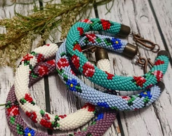 seed bead jewelry beaded crochet rope vintage rose flower seed bead bracelet white mint lavender purple spiral seed beaded bracelet beadwork