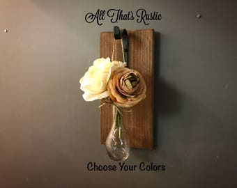 Rustic Wall Sconce, Hanging Wall Sconce, Roses, Wall Sconce, Wall Decor, Rustic Wall Decor, Wall Hanging, Sconce with Flowers, Rustic Decor