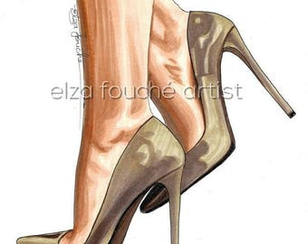Fashion illustration drawing shoes