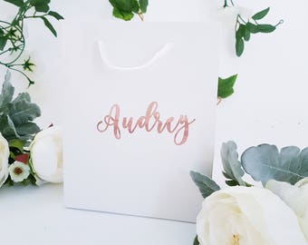 Medium White Personalized Gift Bags