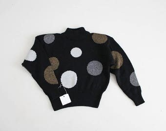 polka dot sweater | holiday sweater | metallic sweater
