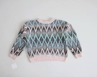 cropped pastel sweater   pastel pink and blue sweater   diamond sweater