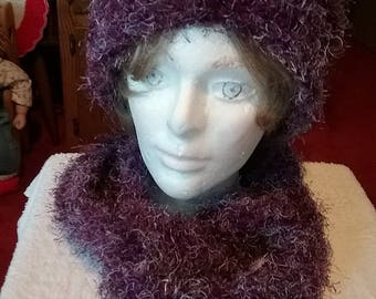 Purple and Silver Hat and Infinity Scarf Set