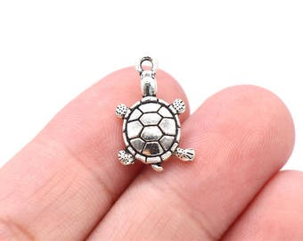 8 Pcs Turtle Charms Antique Silver Tone Tortoise Charms 11x19mm - YD0013