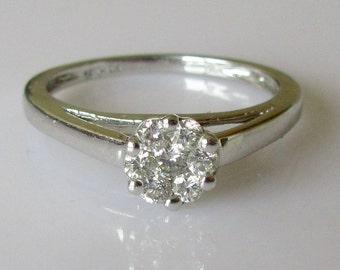 18ct White Gold Diamond Flower Ring