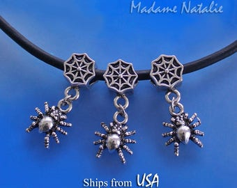 Spider Web Big Hole Beads (3 pc), European Style Beads 4.6mm Hole, Antique Silver Web Bead with Spider Charm, Halloween Spider Web Beads