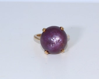 Ruby Star Ring | 14K Yellow Gold | Vintage, Estate | Size 5 | Purple Ring | Large Stone Ring |