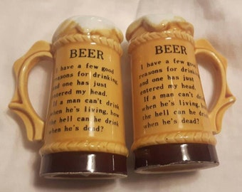 Vintage Beer Stein Salt and Pepper Shakers Beer Saying Ceramic Unique Gift