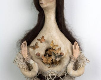 Doll Sculpture- Antique Style Doll- Fantasy Art- Art Doll- Wicthy Sculpture - Mixed Media - Doll Sculpture - 'The Moth Mother'