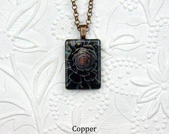 Glass Rectangle Photo Necklace Black Rose Necklace Black Rose Photo Jewelry Succulent Necklace
