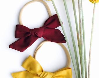 Maroon or Mustard // Hand Tied, Schoolgirl, Fabric Bow