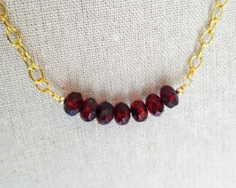 Red Czech Glass Bead and Gold Chain Necklace