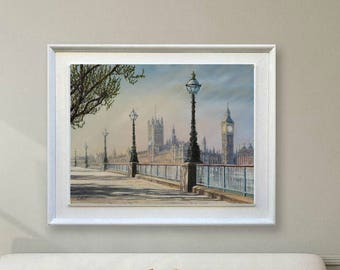 Landscape painting London skyline painting original Fine art painting canvas British decor Oil painting Hand painted wall art gift for mens