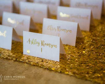 Gold Foil Script with Food Icon Flat or Tented Handmade Wedding Place / Escort / Name Cards, Also Available in Rose Gold and Silver