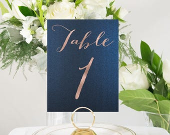 Shimmer Navy and Rose Gold Foil Table Numbers, Custom Handmade Wedding, also in Gold, Silver, or Copper Foil #0103NB
