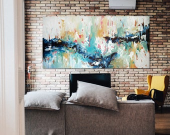EXTRA LARGE Abstract Painting, Blue Green Abstract Art, Modern Art Canvas Painting, Original Oil Painting On Canvas, Wall Art, oversized art